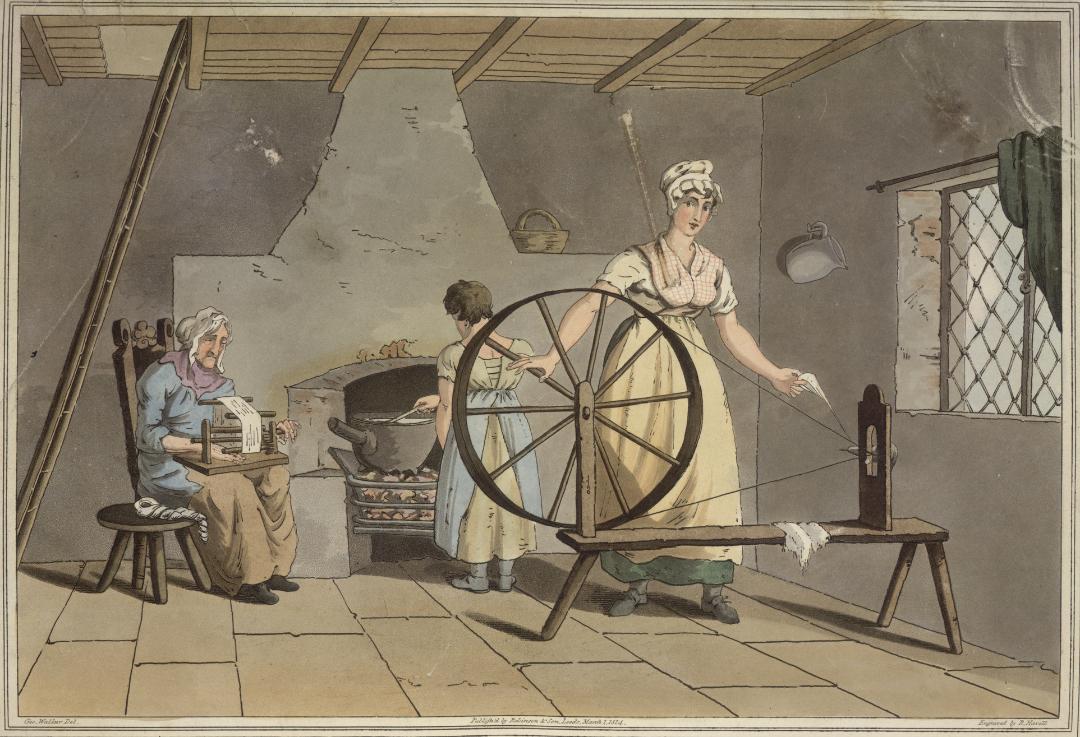 """Ingekleurde tekening """"Vrouw spint en kaardt wol"""" uit het boek """"The costume of Yorkshire"""". Tekening van George Walker (1814), British Library"""
