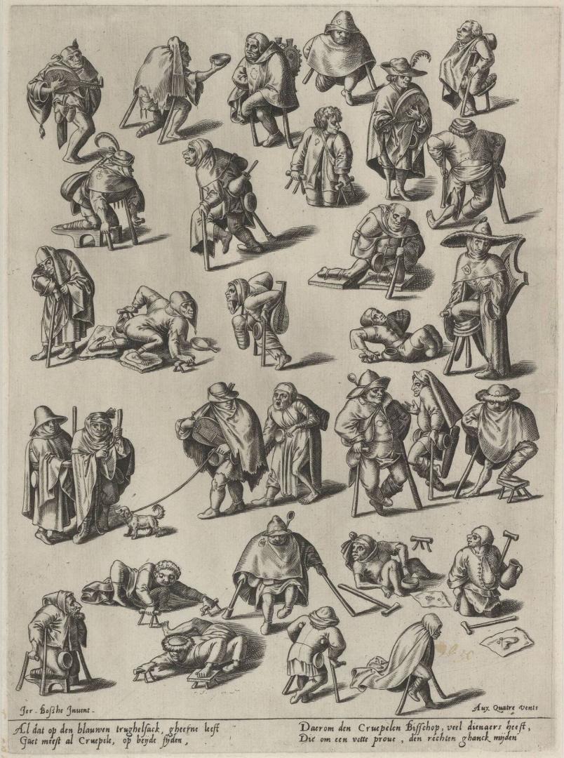 """Gravure """"Kreupelen en bedelaars' naar een tekening van Hieronymus Bosch of Pieter Bruegel de Oude (ca 1570-1580), Museum Boijmans Van Beuningen, Rotterdam, Nederland"""