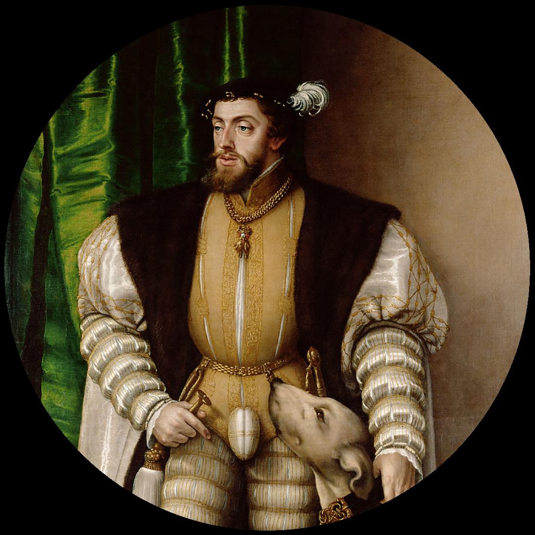 Portret van Keizer Karel V met hond door Jakob Seisenegger (1532), Kunsthistorischer Museum, Wenen