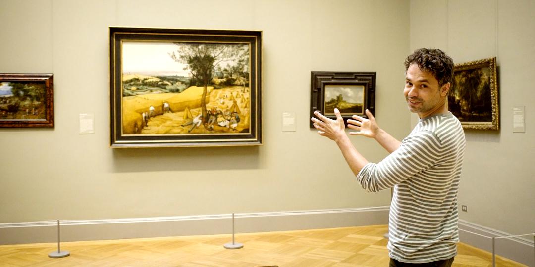 """Afbeelding bij """"Weg van het meesterwerk"""", een reportage van Thomas Vanderveken die op zoek gaat naar de Korenoogst van Pieter Bruegel. Te zien op VRT NU."""