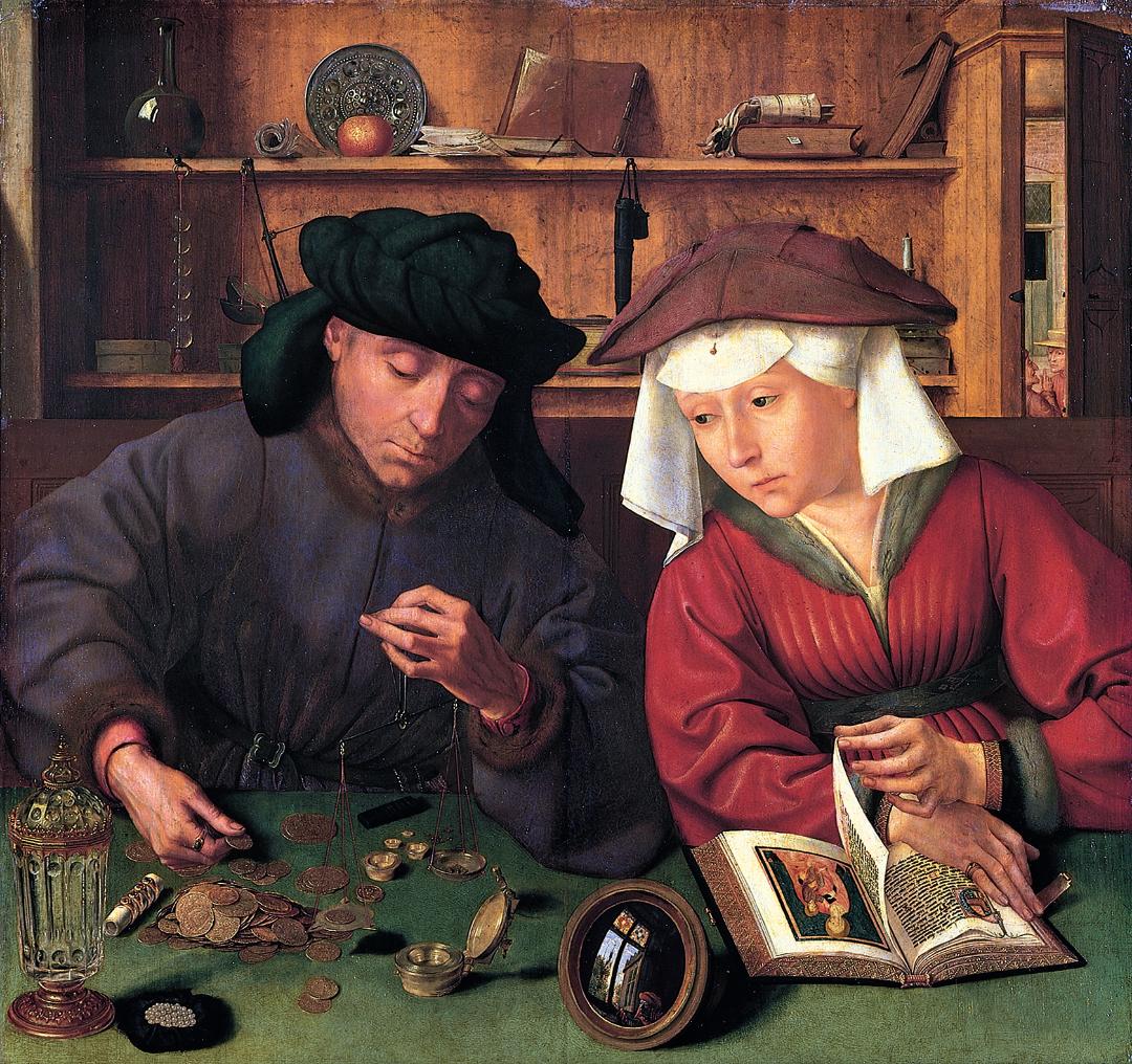 """Schilderij """"Geldwisselaar en zijn vrouw"""" van Quinten Matsys (1514), Louvre, Parijs, Frankrijk"""