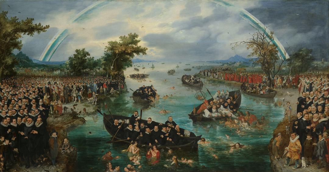 """Schilderij """"De zielenvisserij"""", een allegorie op de ijverzucht van de verschillende religies tijdens het Twaalfjarig Bestand tussen de Nederlandse Republiek en Spanje. Schilder Adriaen Pietersz. van de Venne (1614), Rijksmuseum Amsterdam"""