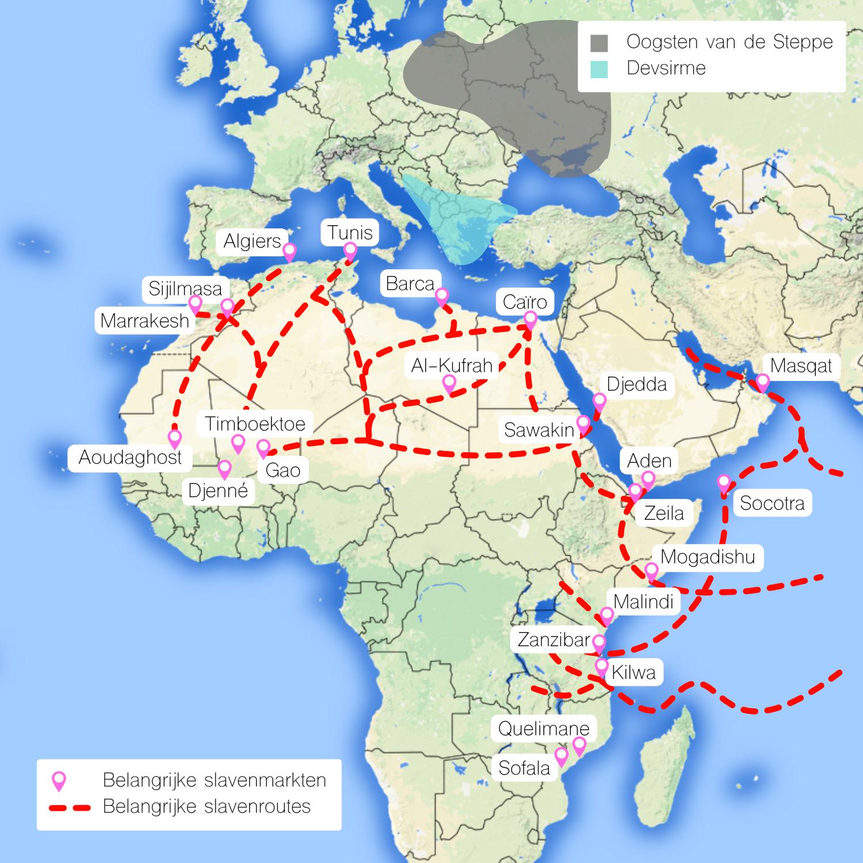 Kaart met belangrijke slavensteden en -routes voor de Arabisch-Afrikaanse slavenhandel