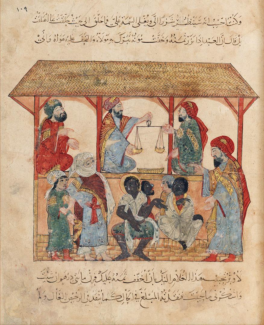 """""""Al-Hârith, qui cherche à acheter un esclave, se fait flouer par Abû Zayd qui lui vend son fils"""" - Miniatuur en kalligrafie van Yahya ibn Mahmûd al-Wâsitî (1237, Irak). © Bibliothèque nationale de France"""